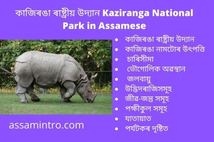 History of Kaziranga National Park in Assamese । কাজিৰঙা ৰাষ্ট্ৰীয় উদ্যানৰ ইতিহাস