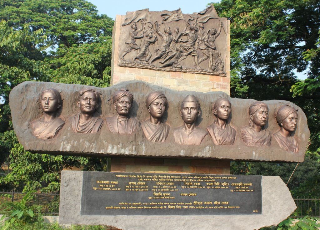 A sculpture of some martyres from Assam