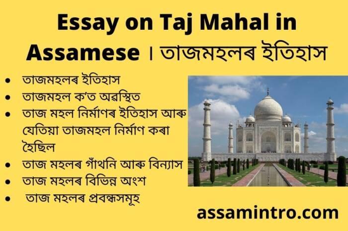 Essay on Taj Mahal in Assamese । তাজমহলৰ ইতিহাস
