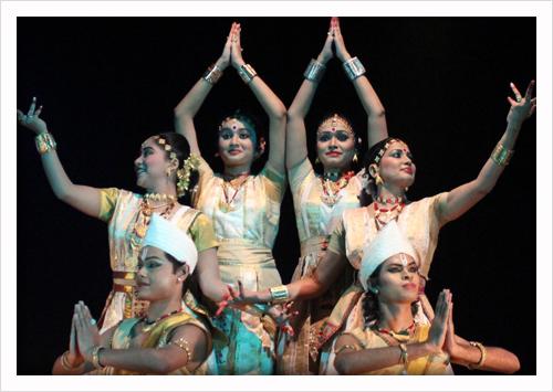 A group performing Satriya Nritya