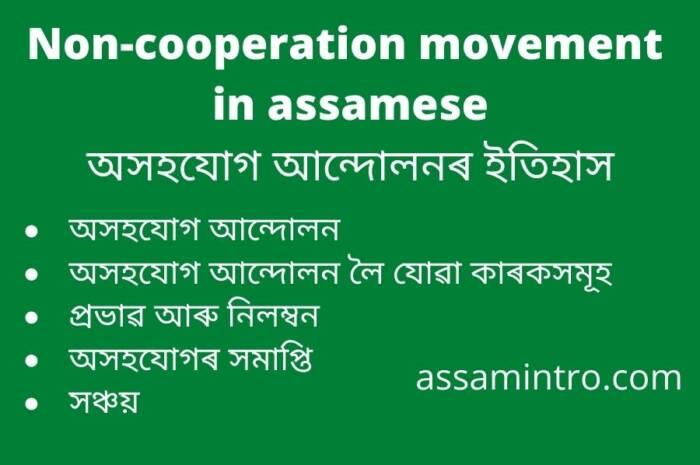 Non-cooperation movement in assamese। অসহযোগ আন্দোলনৰ ইতিহাস