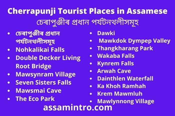 Cherrapunji Tourist Places in Assamese। চেৰাপুঞ্জীৰ প্রধান পর্যটনথলীসমূহ