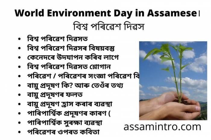World Environment Day in Assamese। বিশ্ব পৰিৱেশ দিৱসৰ কিছু কথা